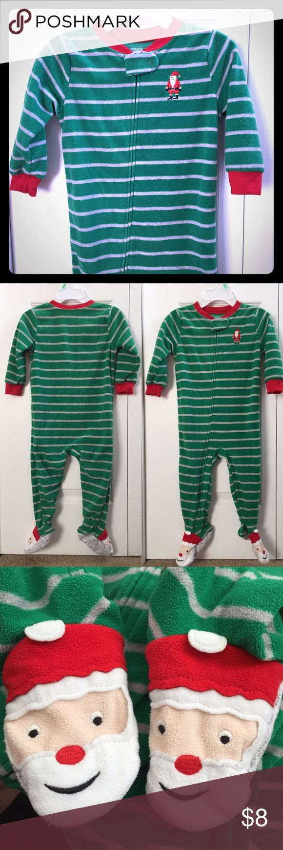 🎄Carter's Christmas PJs🎄 Carter's Fleece Christmas footie pajamas with Santa on the chest and feet! Green with grey stripes.  Only worn twice before my son grew out of them! 🎅🏼🎄 price firm Carter's One Pieces Footies