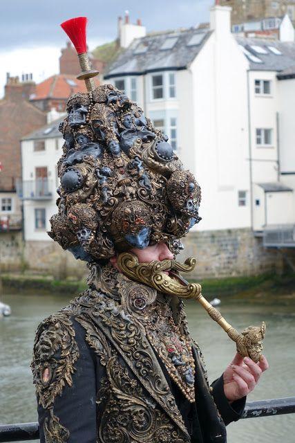 Steampunk Rocopunk turban costume - baroque rococo style cosplay, hindu indian influence headpiece, eyepatch, beard, pipe, jacket
