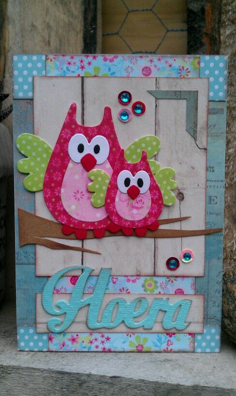 handmade card with adorable die cut owls in fantasy colors ... collage look with lost of layers from Hoera (?)