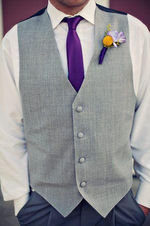 Grey Vests. No Jacket. Purple Skinny Tie. The Yellow Argyle socks were my favorite part. :)