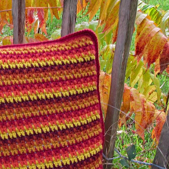 SHADES OF AUTUMN CROCHET CUSHION COVER KIT  Everything you need to crochet this quick and easy cushion cover reflecting all the beautiful shades of autumn. With clear instructions and a photo tutorial, this is an ideal kit and pattern for beginners.  #crochet #cushions #pillows #crochetgifts #crochetpresents