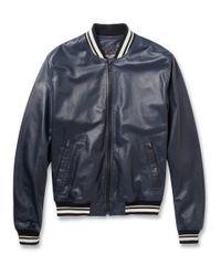 Dolce & Gabbana | Blue Leather Varsity Jacket for Men | Lyst