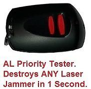 Laser Testers are Hazardous Shit. They cost Cents to make, they were only made and intended for Laser detectors. Most Emit a Jammer Killing D.C. Signal. Scores of