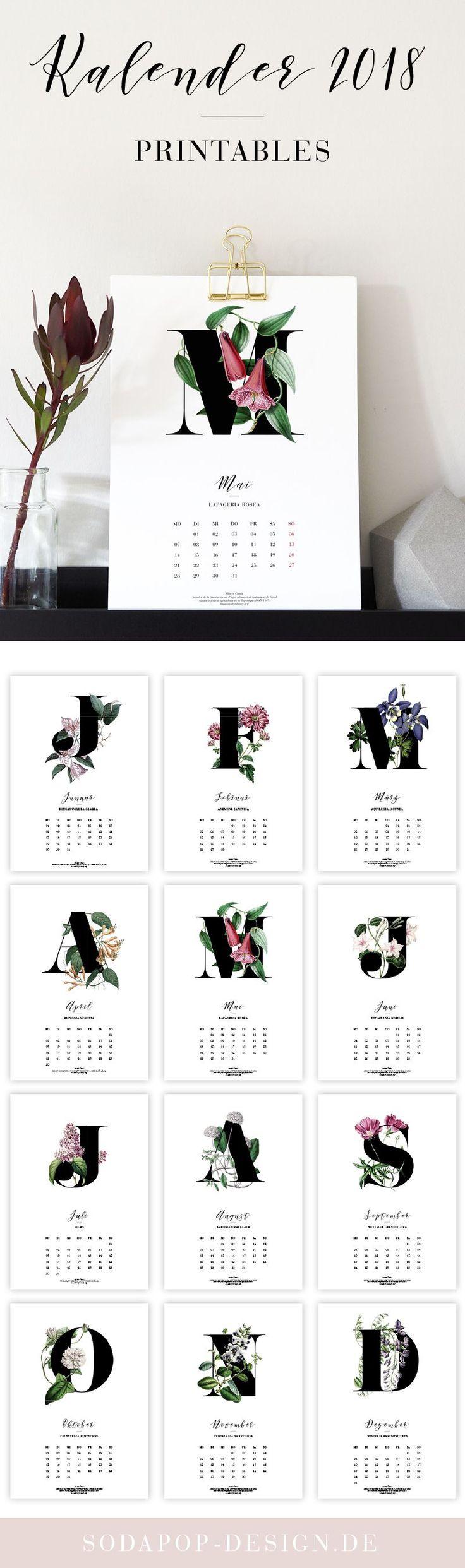 "Printable Kalender ""Botanicals"""