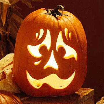 how the Carved Nervous Face Stencil looks on the pumpkin