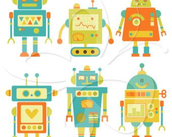 buy 2 get 1 free Cute Robots Clipart for by cloudstreetlab on Etsy
