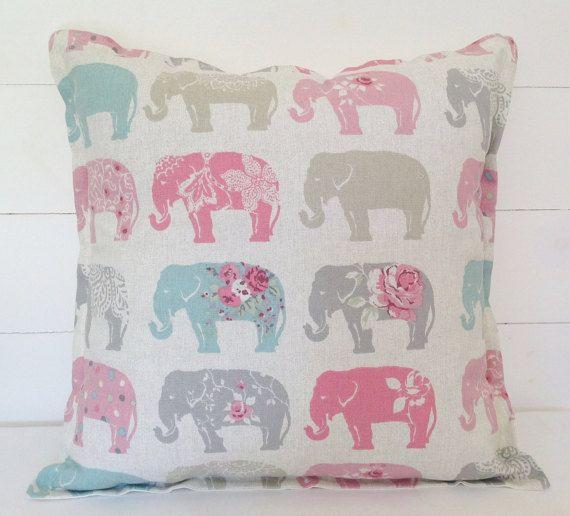 Elephants Cushion Cover Elephants Pillow Case by lottieanndesigns