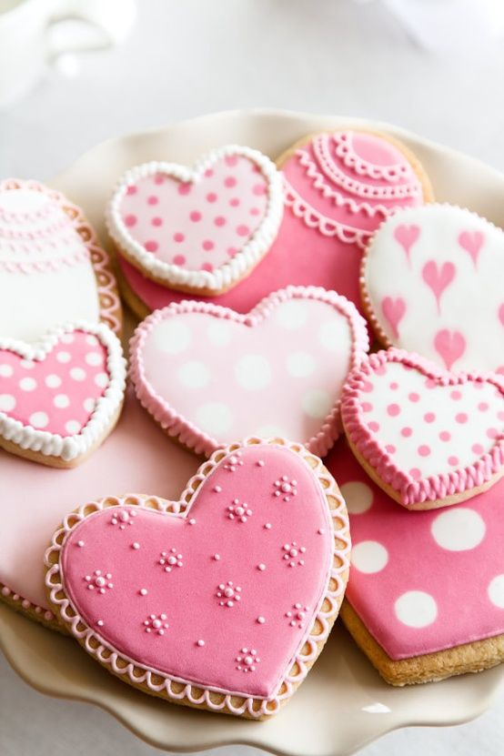 Pink heart shaped cookies for Valentine's Day