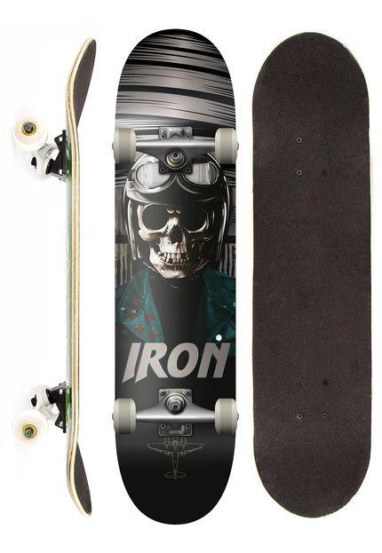 Skate Completo Iron Profissional Skull Aviator Street Preto - Marca Iron  Shape 4043bc943ee