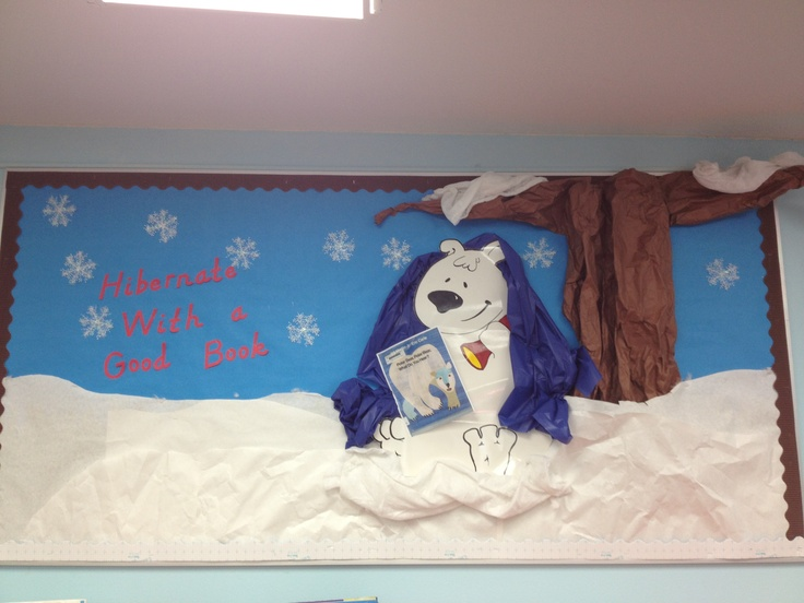 Winter board in Library. Borrowed this bear graphic from another pinner. He's reading Polar Bear, Polar Bear What Do You Hear?