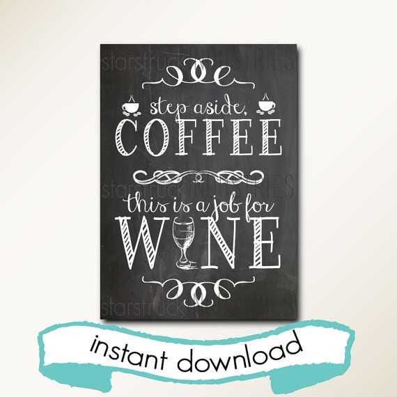 Coffee Amp Wine Instant Download Printable Chalkboard