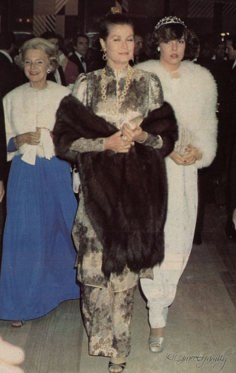 Princess Caroline of Monaco with her mother Princess Grace and aunt Princess Antoinette,1975.