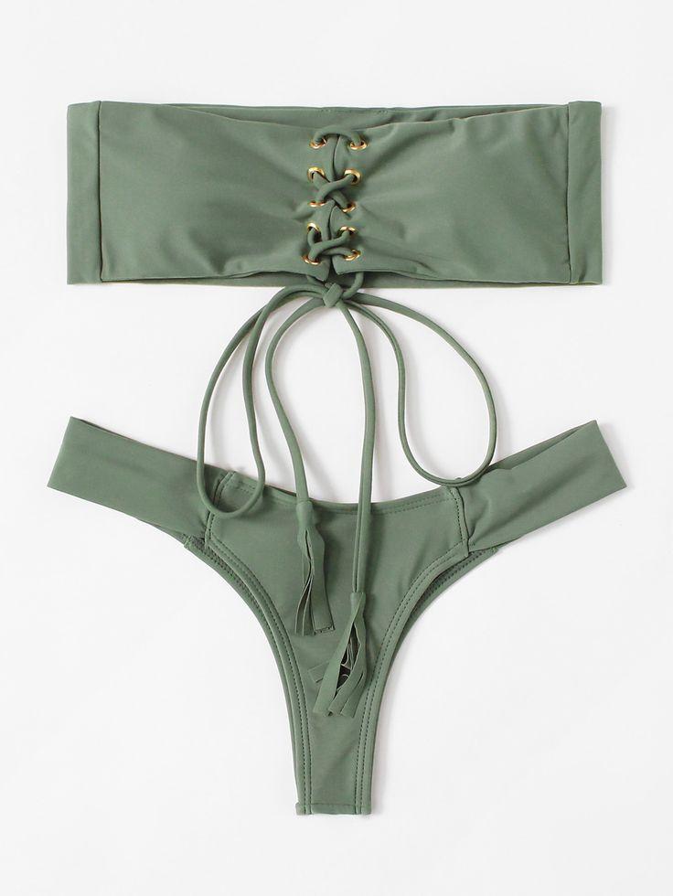 Shop Lace Up Bandeau Bikini Set online. SheIn offers Lace Up Bandeau Bikini Set & more to fit your fashionable needs.