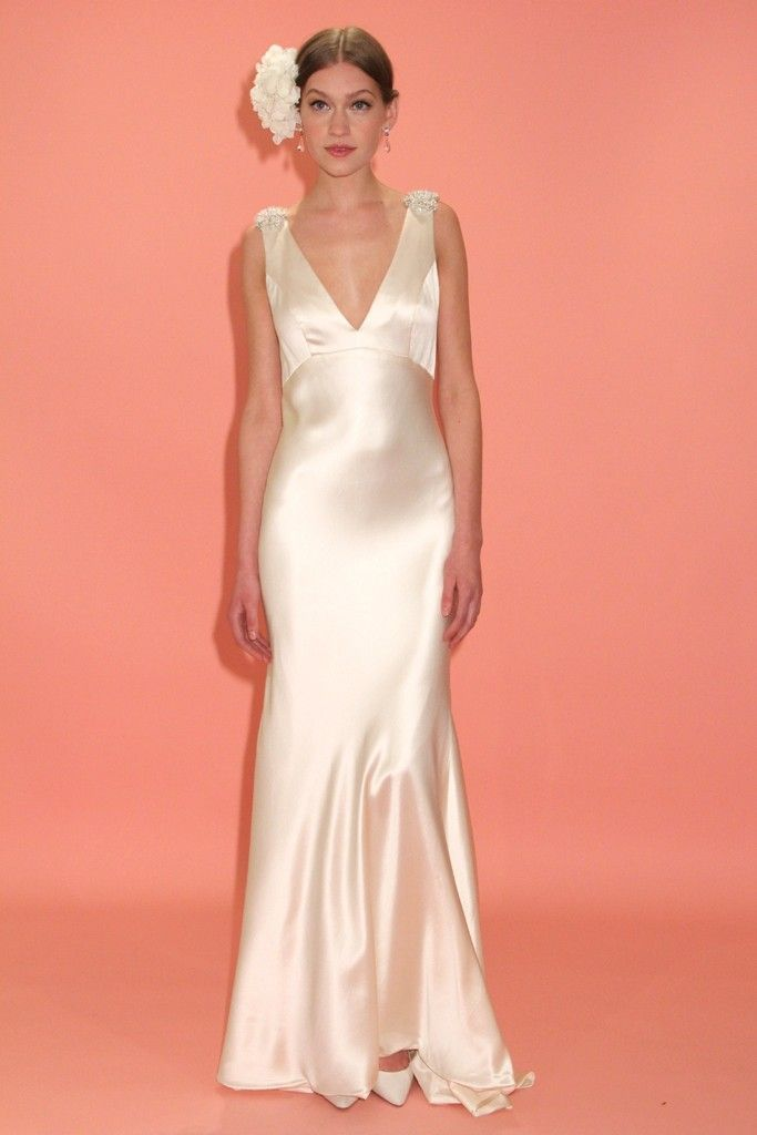 Badgley mischka bridal collection delivers old hollywood for Satin silk wedding dresses