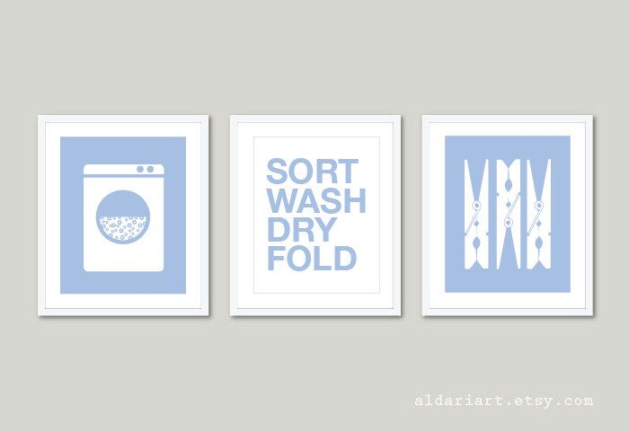 Laundry Room Art Prints  - Set of 3 - Laundry Wall Art - Clothespins Print  - Modern Home Decor - Blue Serenity Prints - Sort Wash Dry Fold by AldariArt on Etsy