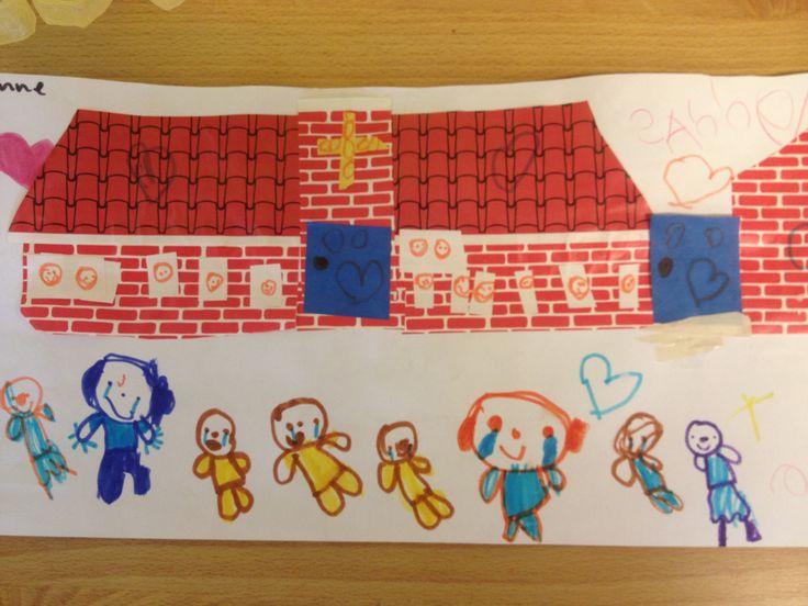 School buiten bekijken, ramen tellen, daarna knippen, plakken, passen en meten. http://jufria.yurls.net  augustus 2014