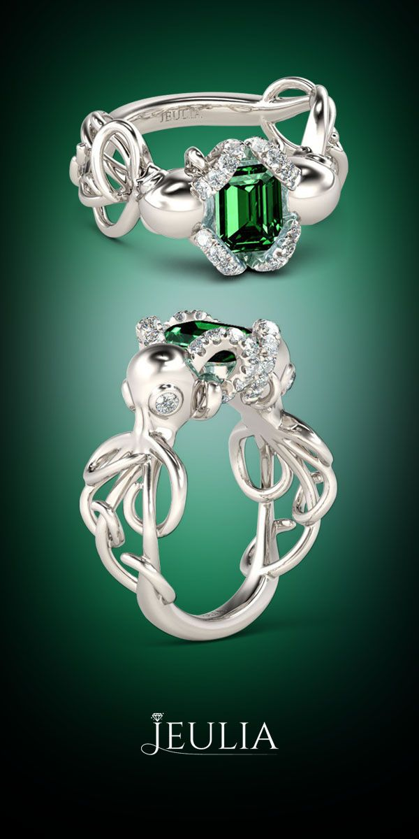 Entwined Double Octopus Emerald Cut Emerald Silver Octopus Ring #Jeulia