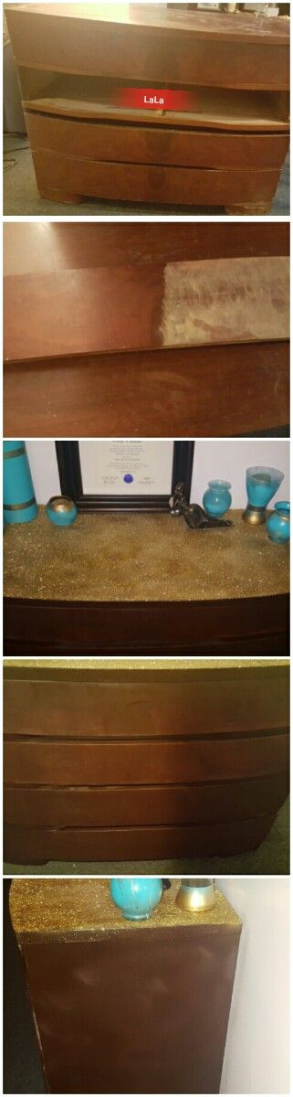 """Refurbished dresser turned into """"entryway"""" dresser with a gold glitter top... First I used a basic electric hand sander from Amazon to smooth out the dresser, wipe down dresser of any dust or residue and spray paint to the color of your liking for the top I used Mod Podge glue and then cover with glitter you may have to repeat this step a few times. Once the Glitter has dried use a sealant to stop glitter from getting all over the place."""