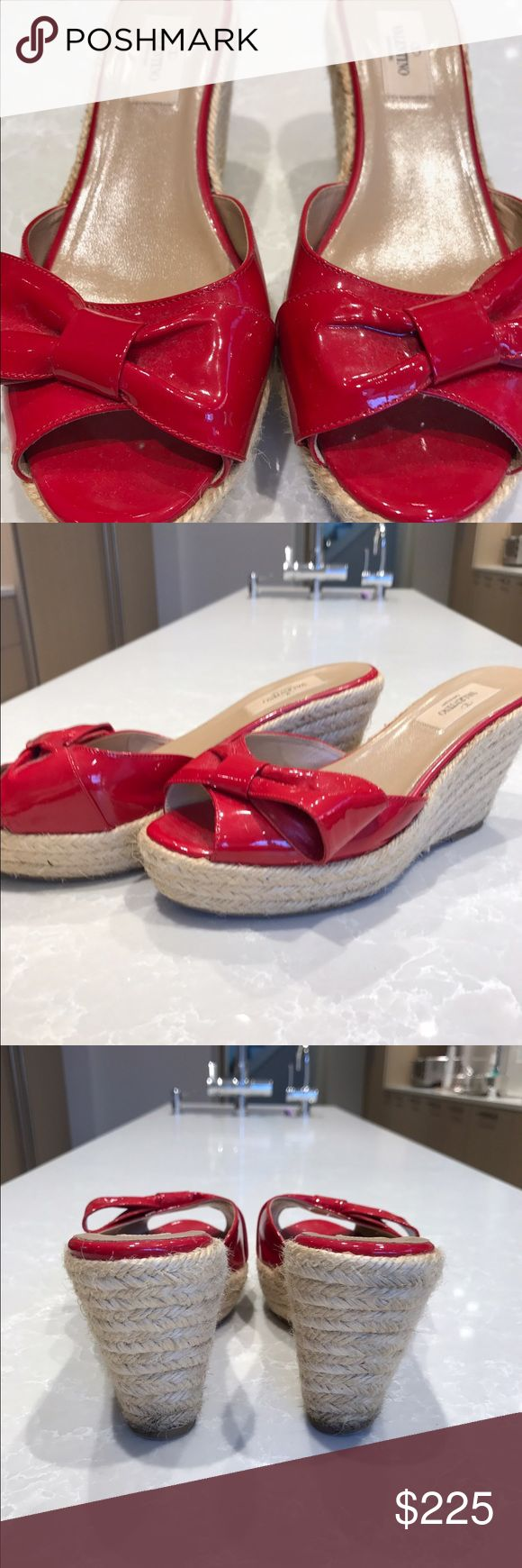Valentino wedges Red patent leather Valentino slide wedges with bow accent at vamps and jute woven heels. Lightly warn 3.5 in wedge height Valentino Shoes Platforms