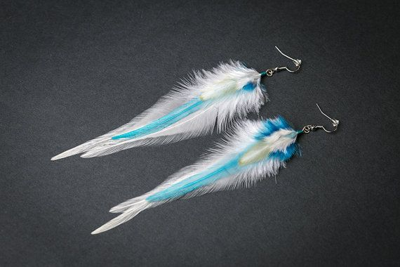 White feather earrings: real natural feather bohemian boho hippie tribal indian gypsy wedding bridal bridesmaid jewelry gift for her light