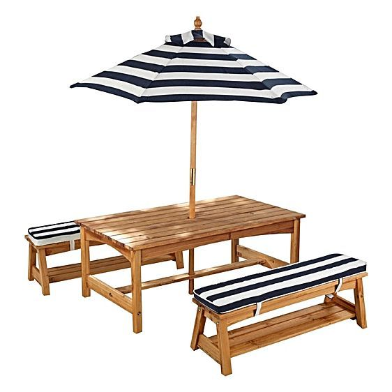 KidKraft Outdoor Table & Chair Set with Cushions & Umbrella