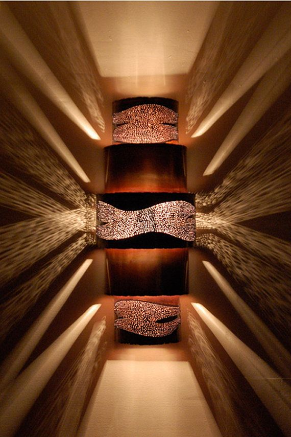 Burned Copper &  Stainless Contemporary Wall Sconce  Up and