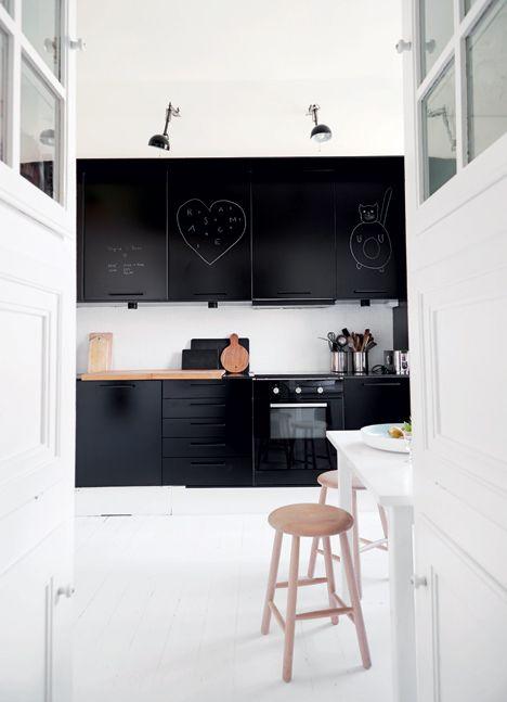 black + white scandinavian kitchen