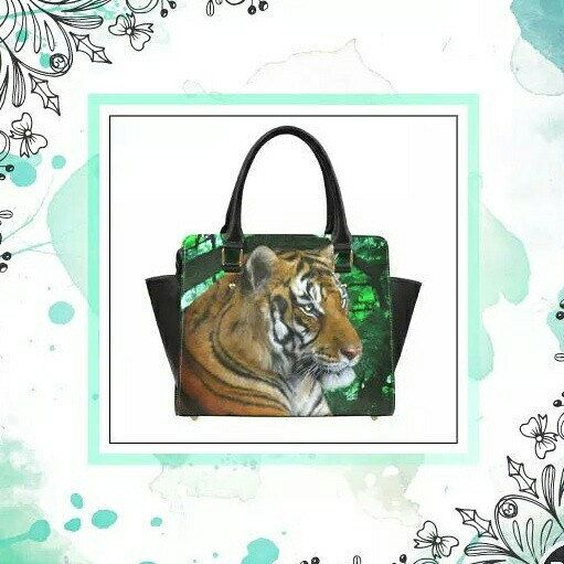 "Tiger handbag with a print of the digital painting ""Tiger Contemplation"". Printed on both sides.  Free international shipping.  Painting by Tracey Everington of Tracey Lee Art Designs."