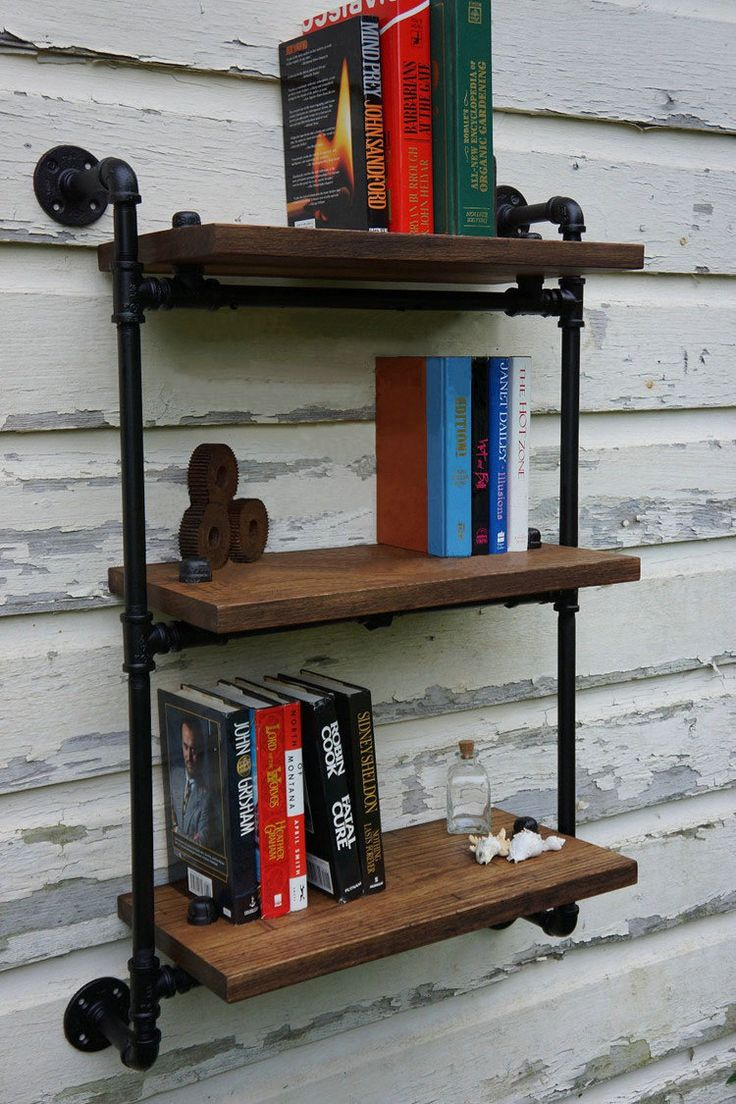 Iron pipe wall wood wall shelf bookcase shelf kitchen bathroom bathroom shelf storage rack(China (Mainland))