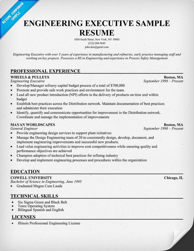 engineering executive resume resumecompanioncom - Product Safety Engineer Sample Resume