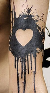 Black splash with white heart tattoo - Tattooimages.biz