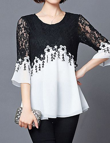 f6ebb32f7c745  17.00 - Women s Holiday Street chic Plus Size Loose Blouse - Color Block  Black   White