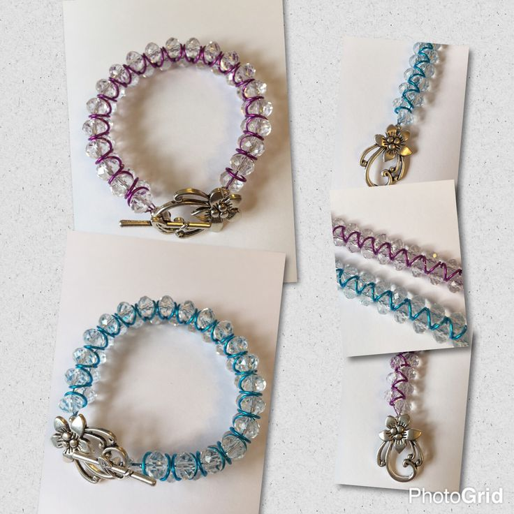 Beautiful crystal beaded goddess bracelets - available in blue or purple - ideal gift