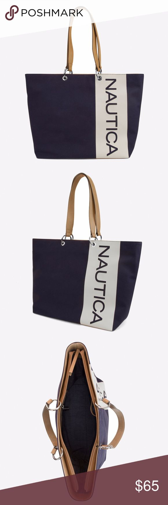 """SALE!NEW W/ TAG NAUTICA BANYAN SIGNATURE TOTE In a single, streamlined design, this tote carries it all with ease. It features top-zip closure to keep you secure as well as a signature logo for extra style points. Features Body: Canvas with latex logo; Trim: Faux leather (PU) Dimensions: 18"""" x 12"""" x 5.5"""" Zip-top closure; interior zip pocket NAUTICA Bags Totes"""