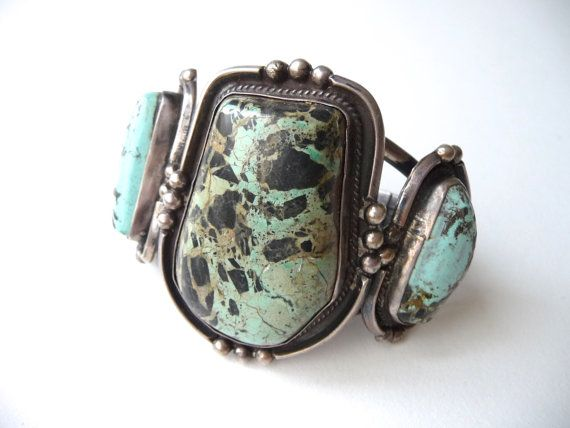 1960s Navajo Old Pawn Sterling and Turquoise Cuff Bracelet