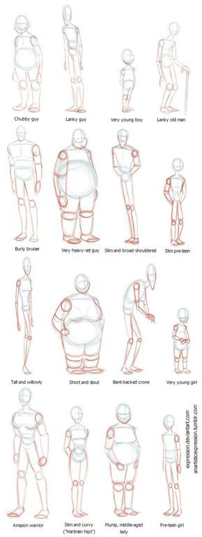 BODY TYPES!! Reference chart for figure drawing! #drawing #humanfigures