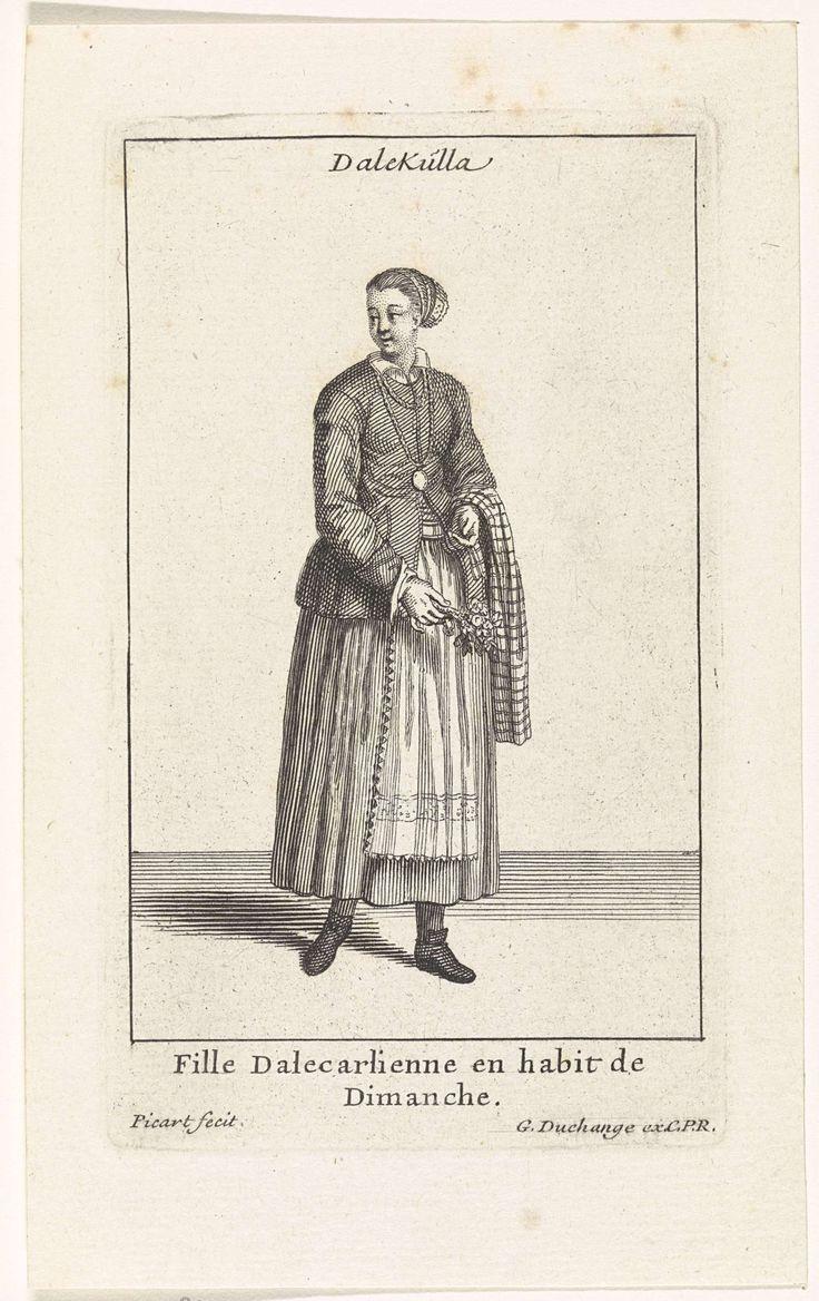 Bernard Picart | Zweedse vrouw gekleed in zondagse kleding, Bernard Picart, Gaspard Duchange, Lodewijk XIV (koning van Frankrijk), 1704 - 1707 | Figuur in eigentijds kostuum. De prent heeft een titel in het Zweeds en een onderschrift in het Frans.