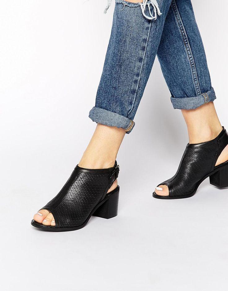 Image 1 ofCarvela Audrey Peep Toe Black Leather Shoe Boots