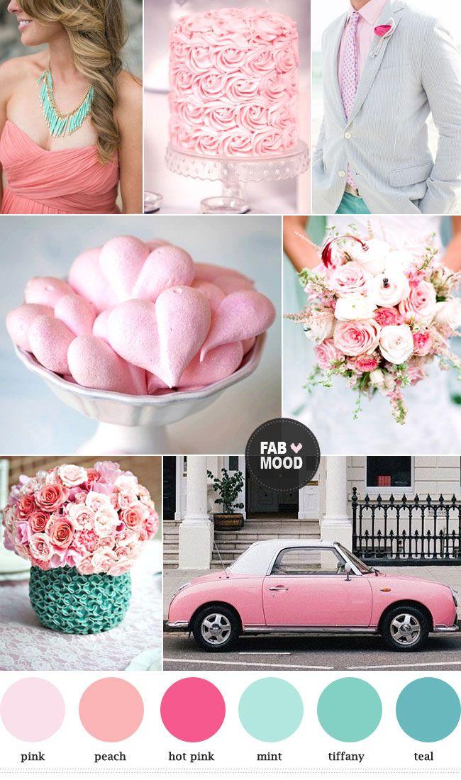 Lire la suite Monnaie pêche rose couleurs de mariage palette, http://www.fabmood.com/mint-peach-pink-wedding-colors-palette/ tiffany et les couleurs roses de mariage