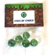 Minecraft Party Favours: 'Eyes of Ender':Marbles: