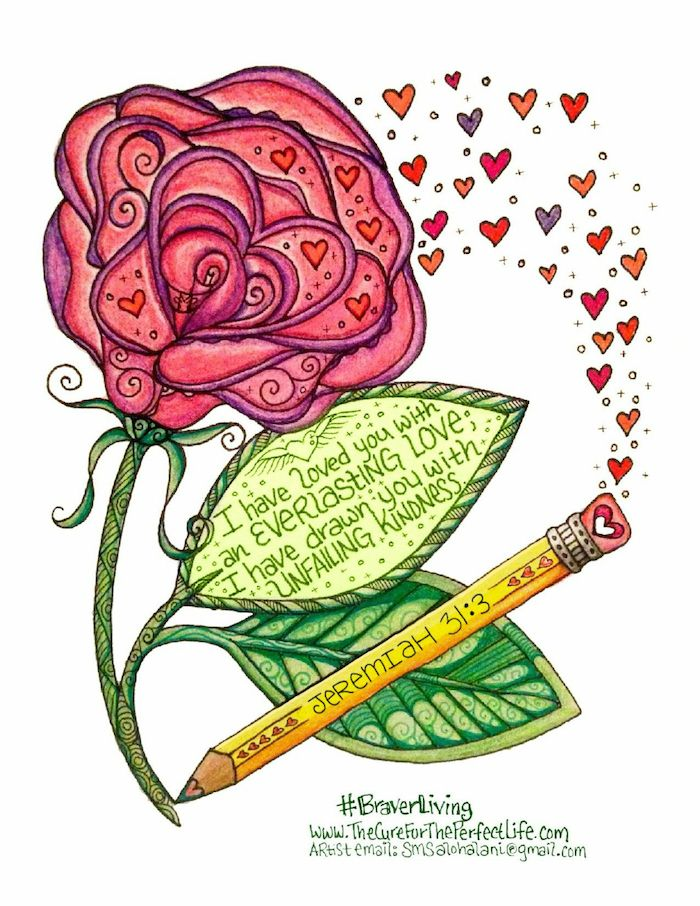 """FREE downloadable printable of Jeremiah 31:3 (+ 5 more gorgeous scripture-themed works of art) -- just sign up for The Cure for the """"Perfect"""" Life 5-Day Braver Living Devo series! http://www.thecurefortheperfectlife.com"""