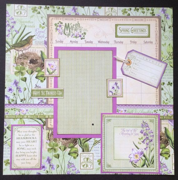 March Graphic 45 single 12x12 scrapbook layout calendar page, March calendar page, Premade Scrapbook Page, Calendar Scrapbook Page, March