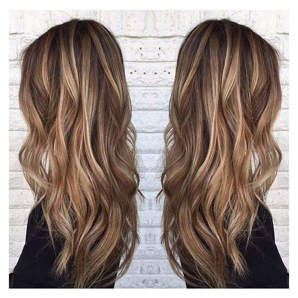 Blonde highlights on medium brown hair. By @sarah_peck... ❤ liked on Polyvore featuring beauty products and haircare