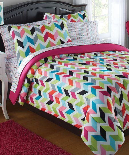 Green & Pink Bright Chevron Bed-in-a-Bag Bedding Set   zulily