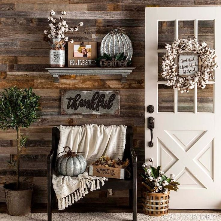 Rustic farmhouse entry and mudroom. Barnwood shiplap on walls, white door, classic bench, and thankful #ad #barnwood #shiplap #farmhouse #fixerupper #mudroom