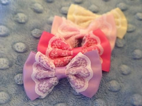 This listing is for one mini lace and satin bow clip in color of your choice! These itsy bitty mini bows are on partially lines snap clips in neutral color. So tiny and cute, they are sure to be a hit! I can make these on skinny or elastic headbands; or alligator clips if you prefer, just convo m...