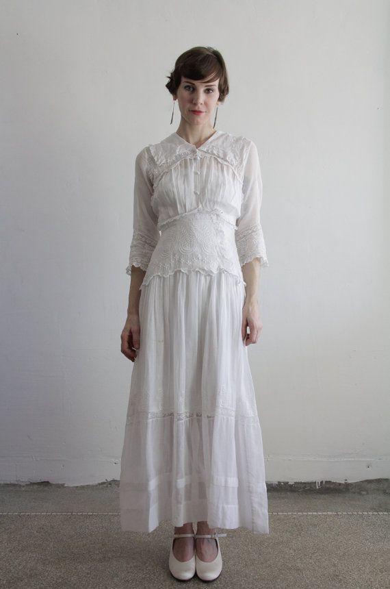 1900s Edwardian Gown . Antique Dress . Cotton . Vintage ...