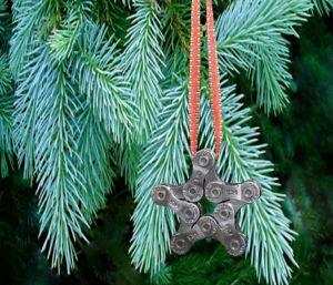 Bicycle Chain Star Ornament - Upcycled Bike Chain