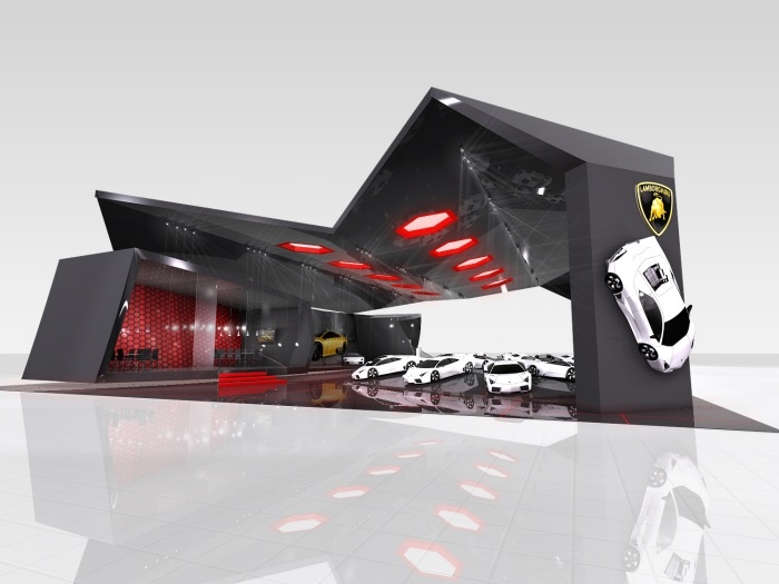 Car trade show displays lamborghini booth pinterest for Stand auto