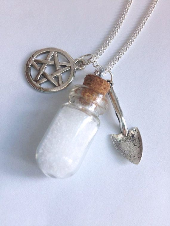Salt & Burn Necklace - SPN Supernatural Inspired Silver Pendant - Glass Vial Bottle Winchester Castiel Protection Charms - Nerd Geek Jewelry by BombDotComGeekery on Etsy